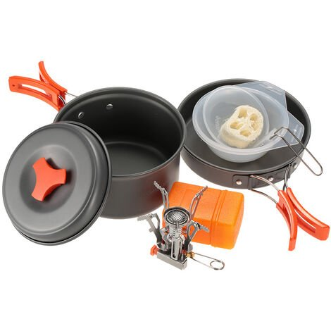 Outdoor camping pot cooker set portable camping pot non-stick pot