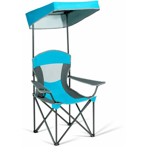 """main image of """"Outdoor Canopy Chair Sunshade Folding Camping Chair W/ Cup Holder & Carrying Bag"""""""