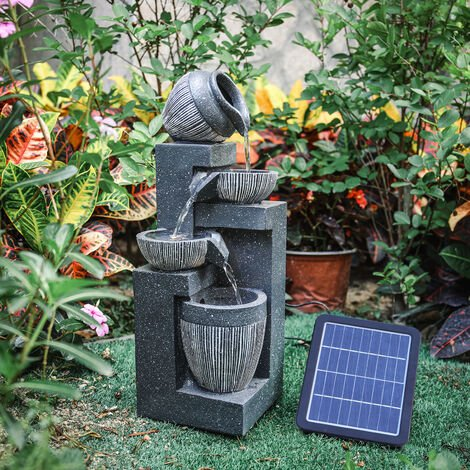 """main image of """"Outdoor Cascading LED Tiered Water Fountain Garden Solar Power Feature Statues"""""""