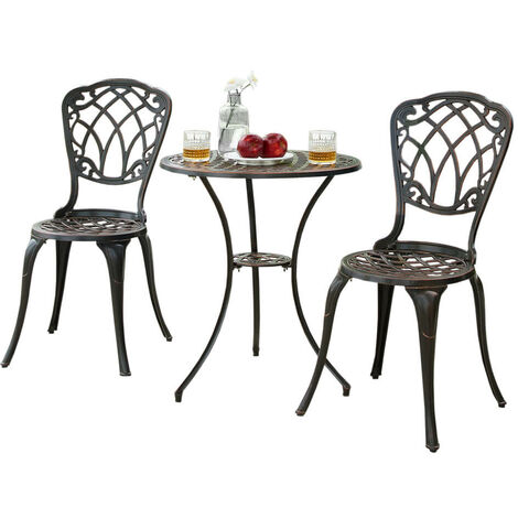 Outdoor Cast Aluminium Metal Garden Patio Bistro Dining Set 2 Chairs Round Table