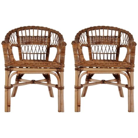 Outdoor Chairs 2 pcs Natural Rattan Brown