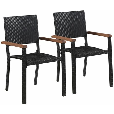 Outdoor Chairs 2 pcs Poly Rattan Black