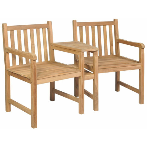 Outdoor Chairs 2 pcs with Parasol Hole Solid Teak Wood