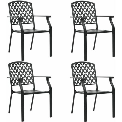 Outdoor Chairs 4 pcs Mesh Design Steel Black