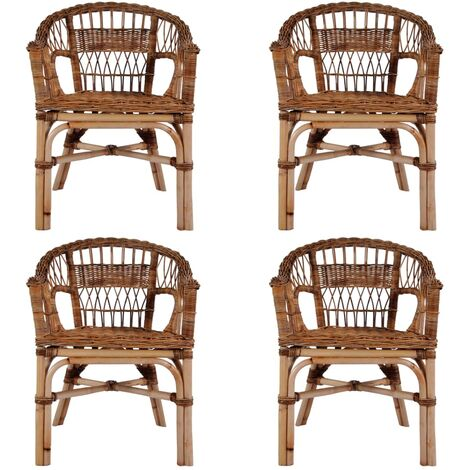 Outdoor Chairs 4 pcs Natural Rattan Brown