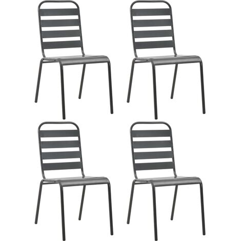 Outdoor Chairs 4 pcs Slatted Design Steel Dark Grey