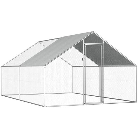Outdoor Chicken Cage 2.75x4x1.92 m Galvanised Steel - Silver