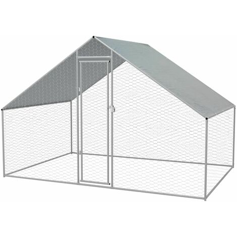 Outdoor Chicken Cage Galvanised Steel 3x2x2 m