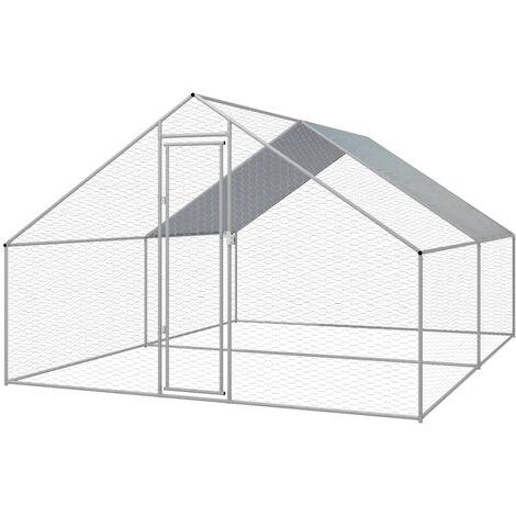 Outdoor Chicken Cage Galvanised Steel 3x4x2 m