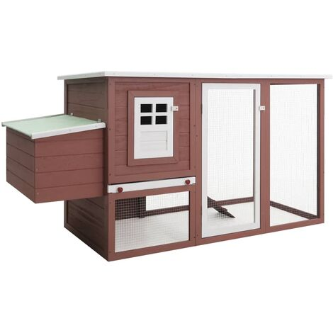 Outdoor Chicken Cage Hen House with 1 Egg Cage Brown Wood - Brown