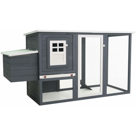 Outdoor Chicken Cage Hen House with 1 Egg Cage Grey Wood