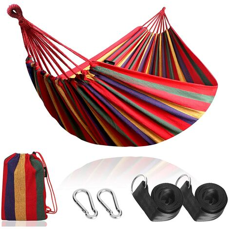 Outdoor Cotton Hammock Multiples 210 x 150 cm, Load Capacity up to 200 kg Portable with Carrying Bag for Patio Yard Garden