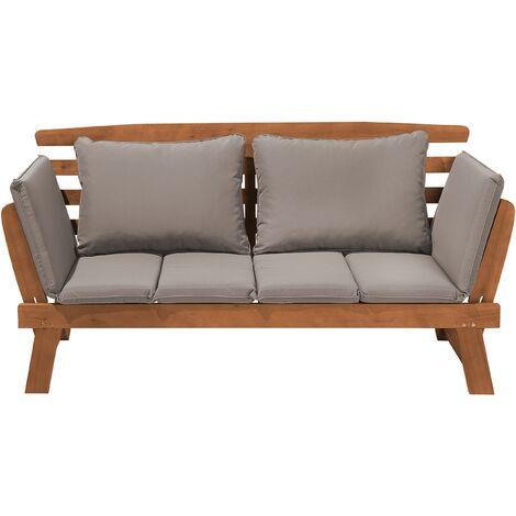 "main image of ""Outdoor Dark Wood Bench Eucalyptus Wood Reclining Armrests Grey Cushions Portici"""