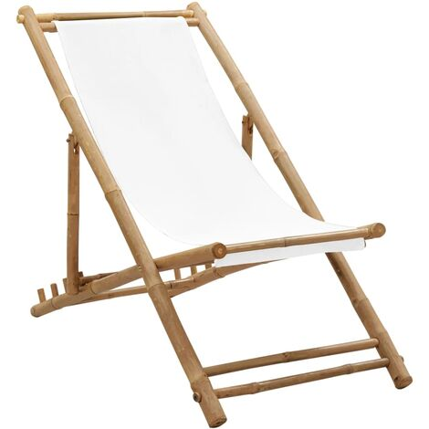 Outdoor Deck Chair Bamboo and Canvas - White