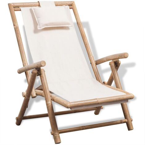 Outdoor Deck Chair Bamboo - White
