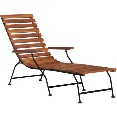 Outdoor Deck Chair Solid Acacia Wood