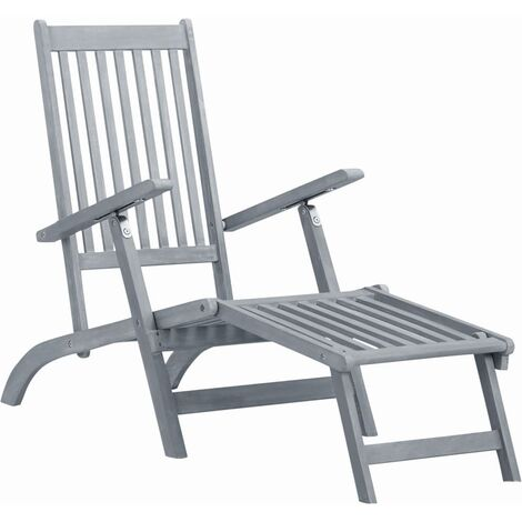 Outdoor Deck Chair with Footrest Grey Wash Solid Acacia Wood - Grey