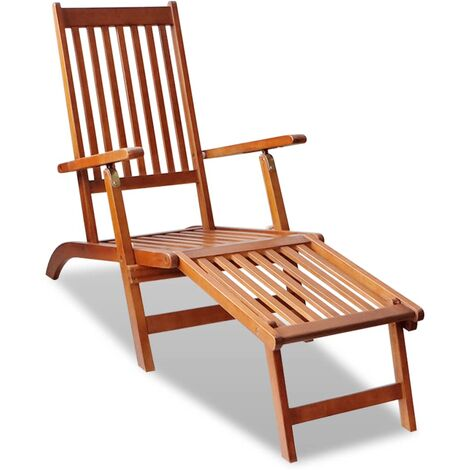 Outdoor Deck Chair with Footrest Solid Acacia Wood - Brown