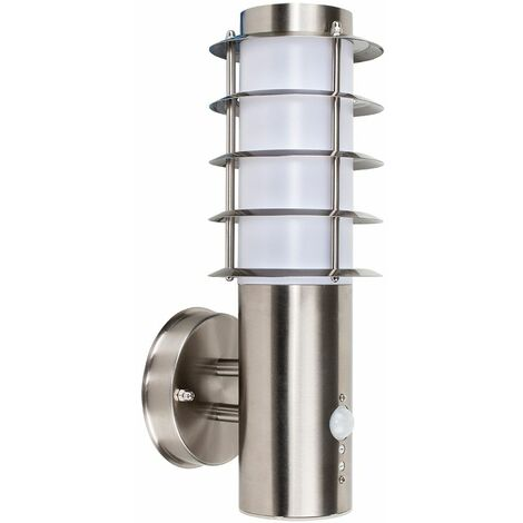 Outdoor Decorative Pir Sensor Stainless Steel Wall Light Lantern - Silver
