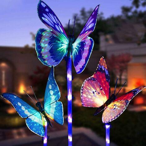 Outdoor Decorative Solar Garden Lights, 3 Pack Solar Powered Garden Lights With Butterfly Multicolor LED Lights Changes Garden, Patio, Garden