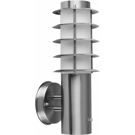 Outdoor Decorative Stainless Steel Photocell Wall Light Lantern - Silver