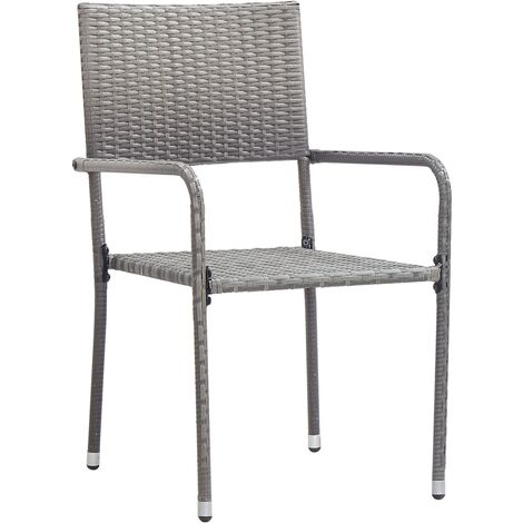 Outdoor Dining Chairs 2 pcs Poly Rattan Grey