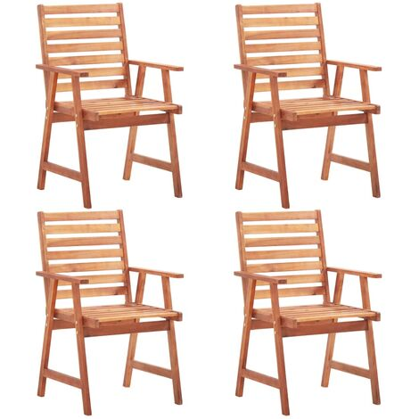 Outdoor Dining Chairs 4 pcs Solid Acacia Wood