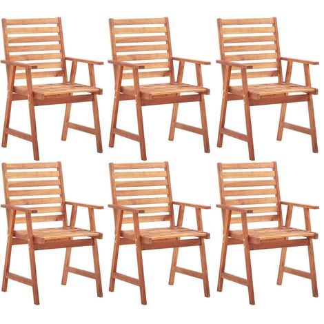 Outdoor Dining Chairs 6 pcs Solid Acacia Wood