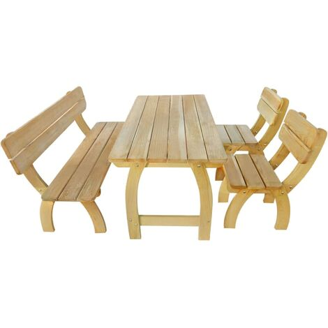 Outdoor Dining Set 4 Pieces Impregnated Pinewood