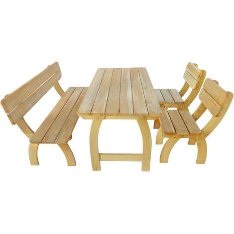 Outdoor Dining Set 4 Pieces Impregnated Pinewood - Brown
