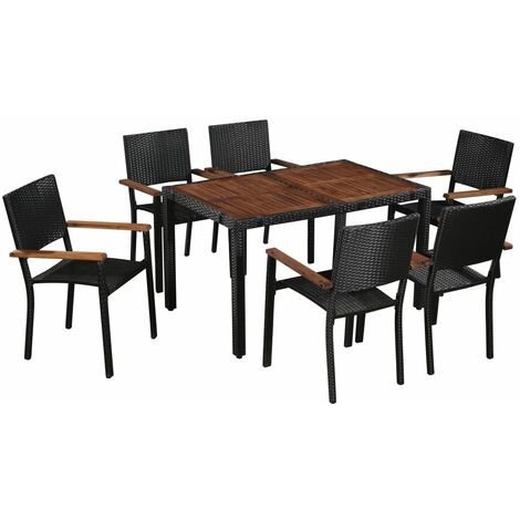 Outdoor Dining Set Poly Rattan and Acacia Wood Black 7 Piece