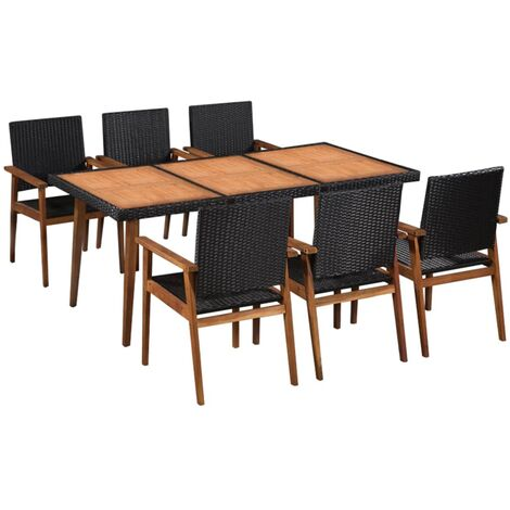 Outdoor Dining Set Poly Rattan Black and Brown 7 Piece