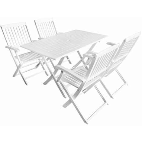 Outdoor Dining Set Solid Acacia Wood White 5 Piece