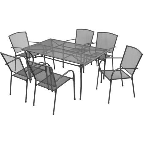Outdoor Dining Set Steel Anthracite 7 Piece