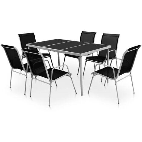 Outdoor Dining Set Steel Black 7 Piece
