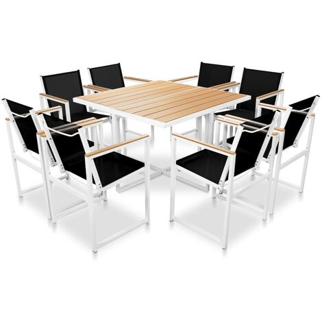 Outdoor Dining Set with WPC Tabletop Aluminium 9 Piece