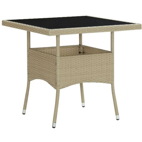 Outdoor Dining Table Beige Poly Rattan and Glass