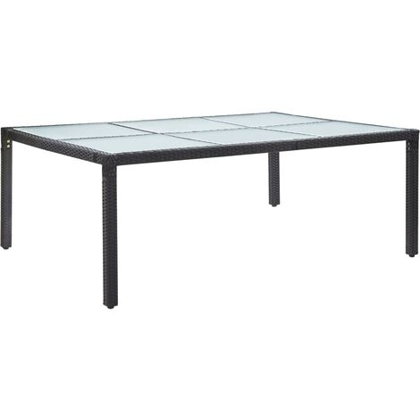 Outdoor Dining Table Black 200x150x74 cm Poly Rattan - Black