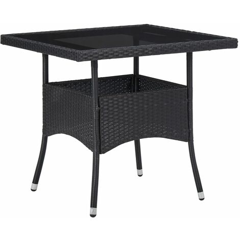 Outdoor Dining Table Black Poly Rattan and Glass