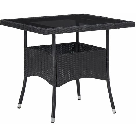 Outdoor Dining Table Black Poly Rattan and Glass - Black