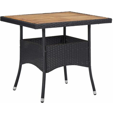 Outdoor Dining Table Black Poly Rattan and Solid Acacia Wood - Black
