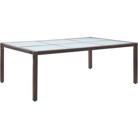 Outdoor Dining Table Brown 200x150x74 cm Poly Rattan