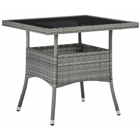 Outdoor Dining Table Grey Poly Rattan and Glass - Grey