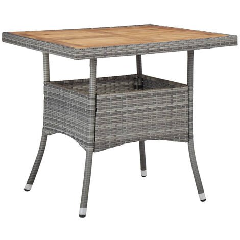 Outdoor Dining Table Grey Poly Rattan and Solid Acacia Wood