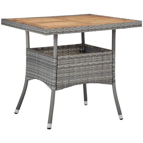 Outdoor Dining Table Grey Poly Rattan and Solid Acacia Wood - Grey