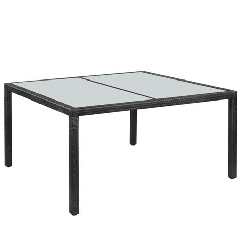 Outdoor Dining Table Poly Rattan 150x90x75 cm Black