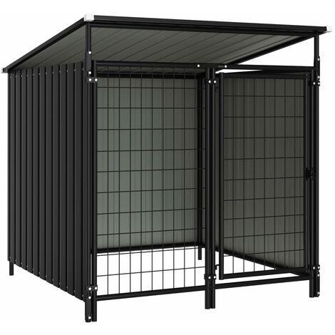 Outdoor Dog Kennel 133x133x116 cm - Grey