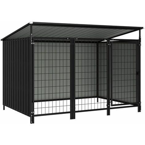 Outdoor Dog Kennel 193x133x116 cm - Grey