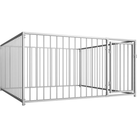 Outdoor Dog Kennel 200x200x100 cm - Silver