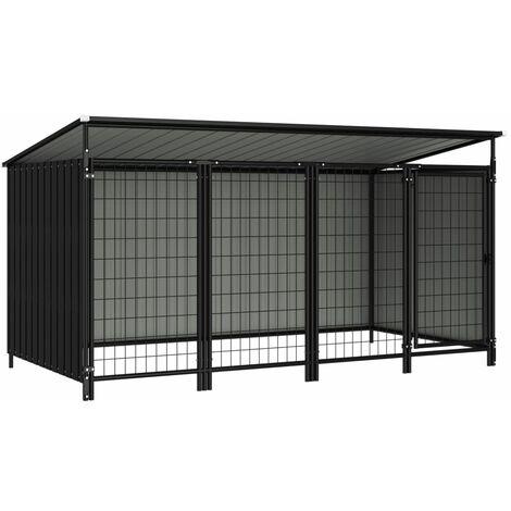Outdoor Dog Kennel 253x133x116 cm - Grey